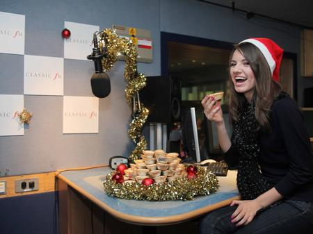 Faryl Smith at Classic FM...with many mince pies!!