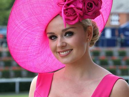 Katherine Jenkins wearing a pink hat for Ascot Hats day