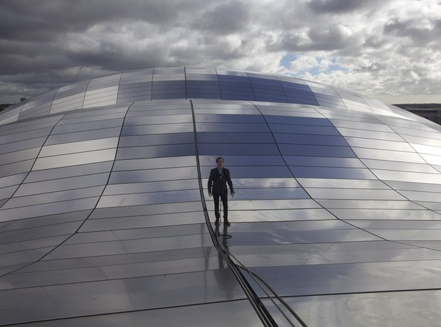 Jamie Crick on the roof of The Sage Gateshead