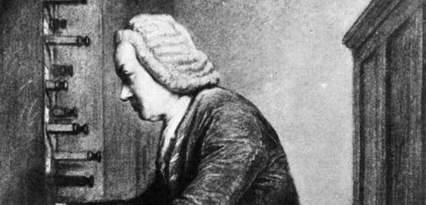 Johann Sebastian Bach at the organ