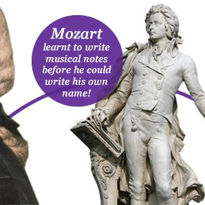 Mozart  learnt to write musical notes before he could write his own name