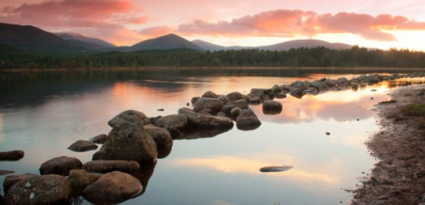 Highlands scotland Loch Morlich sunset
