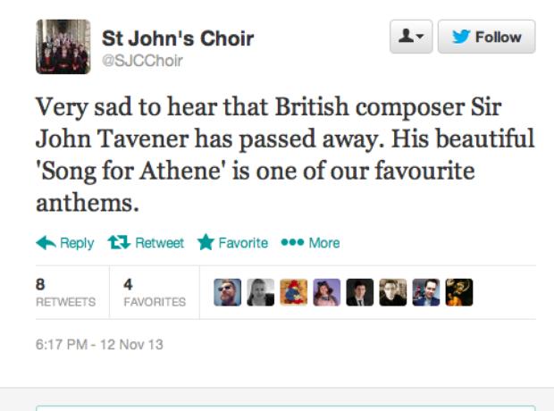 Tavener tributes