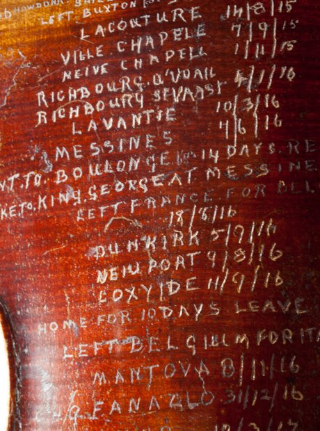 Soldier uses violin as World War I diary