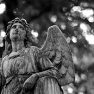 Black and white memorial angel