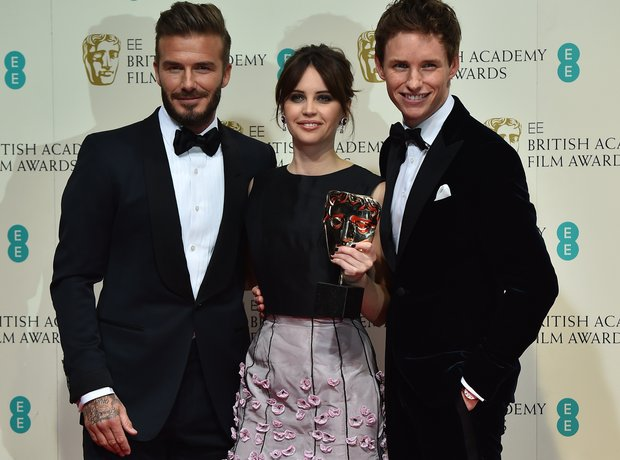 Eddie Redmayne, Felicity Jones and David Beckham