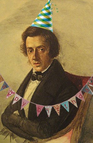 Frederic Chopin in a party hat