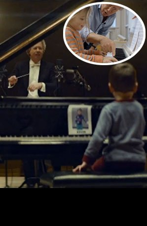 Conductor teaches toddlers to play piano