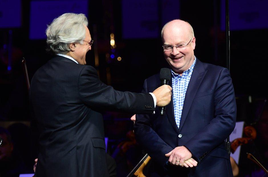 John Suchet and Nigel Hess during Classic FM Live
