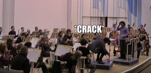 cello explodes in rehearsal